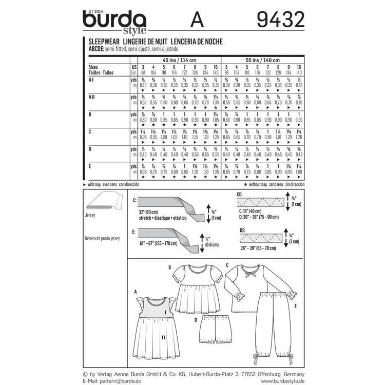 Burda 9432 Girl's Sleepwear  3 - 10
