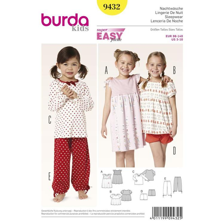 Burda Pattern 9432 Girl's Sleepwear
