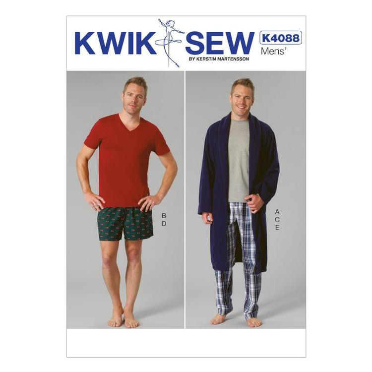 Kwik Sew Pattern K4088 Men's Robe Belt Tops Shorts & Pants