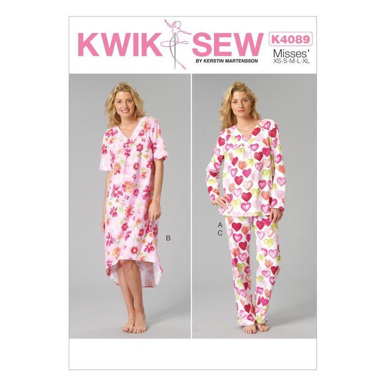 Kwik Sew Pattern K4089 Misses' Top Gown & Pants