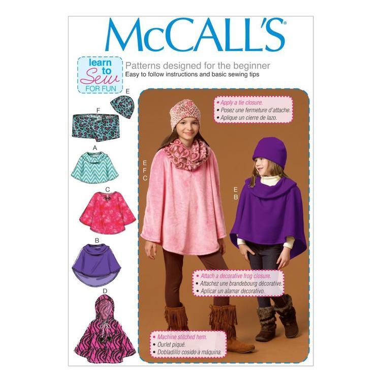 McCall's Pattern M7012 Girls' Ponchos Hat & Scarf