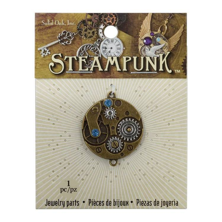Steampunk Small Watch Movement Pendant Antique Gold & White 3 cm