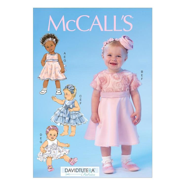 McCall's Pattern M7037 Infants' Dresses Panties & Headbands
