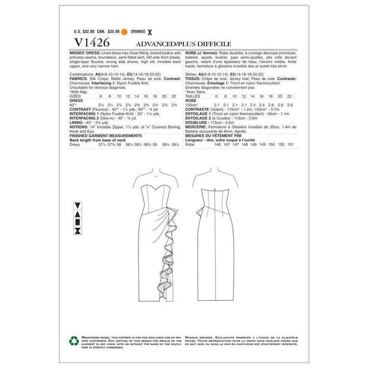 Vogue V1426 Misses' Dress