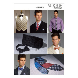 Vogue Pattern V9073 Men's Vest Cummerbund Pocket Square & Ties