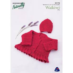 Naturally Waikiwi 4 Ply N1174 Lace Panel Cardigan & Hat