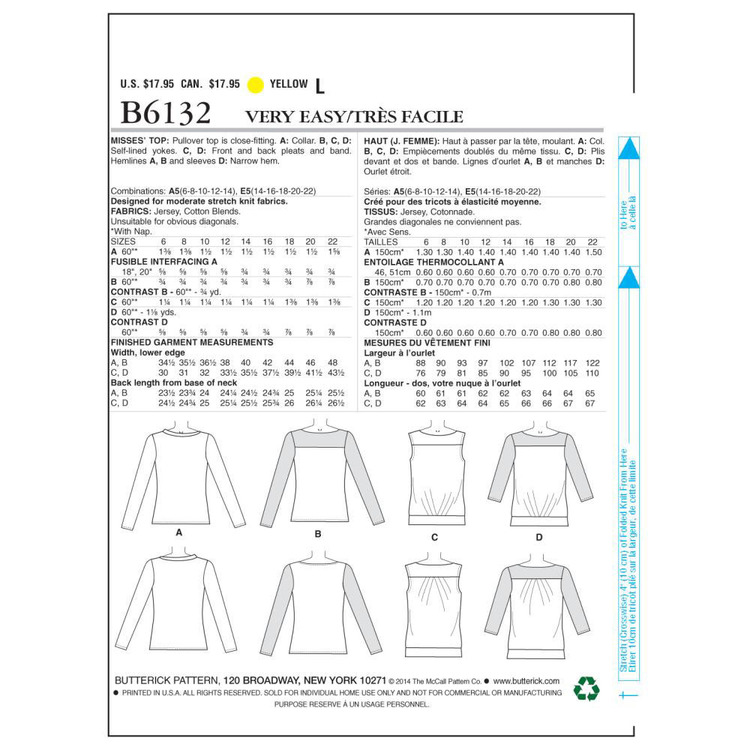Butterick Pattern B6132 Misses' Top