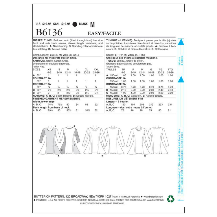 Butterick Pattern B6136 Misses' Tunic