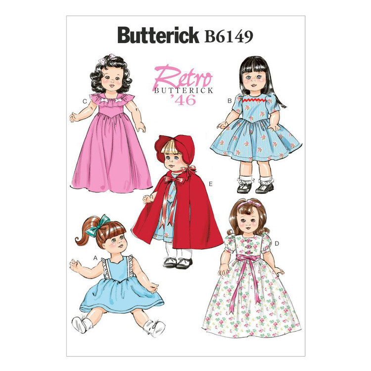 """Butterick Pattern B6149 18"""" Doll Clothes"""