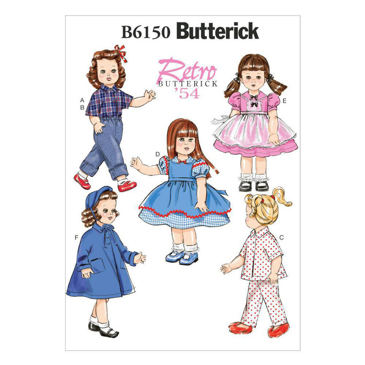 """Butterick Pattern B6150 18"""" Doll Clothes"""