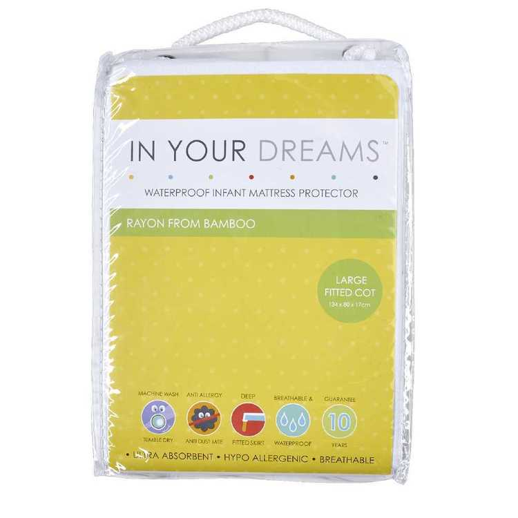 In Your Dreams Bamboo Fitted Cot Mattress Protector White Standard