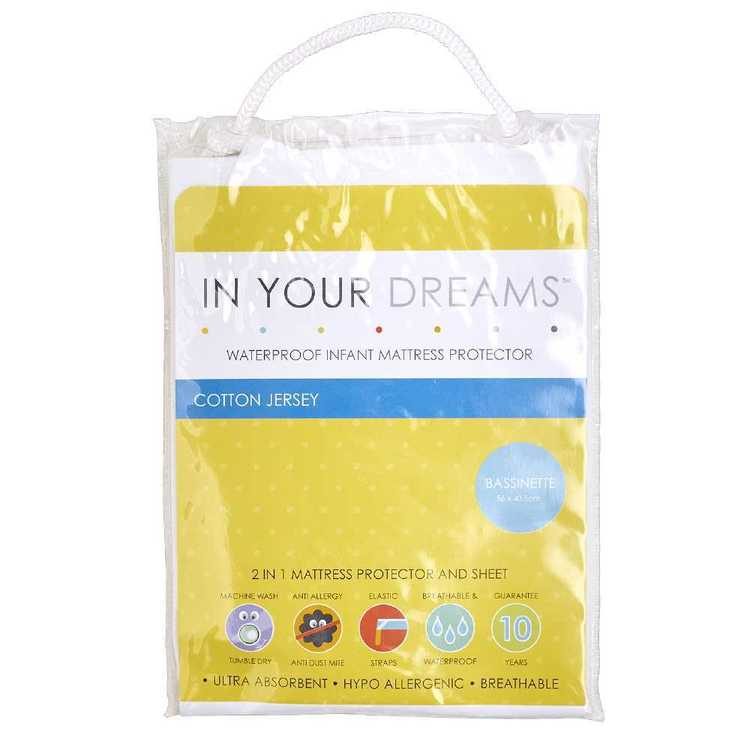 In Your Dreams Basinette Fitted Mattress Protector White