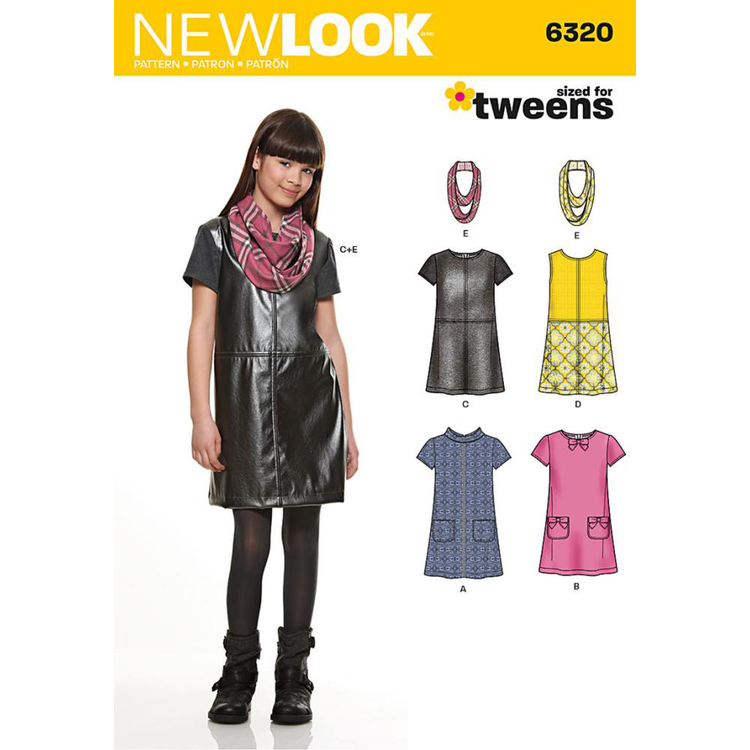 New Look 6320 Girl's Dress, Jumper & Scarf