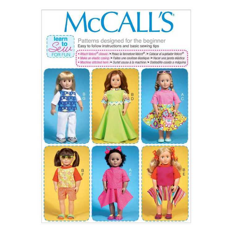 McCall's Pattern M7106 Clothes For 18 in Dolls