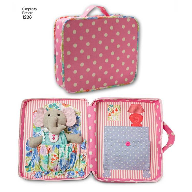 Simplicity 1238 Ellie The Elephant With Clothes And Carrying Case  One Size