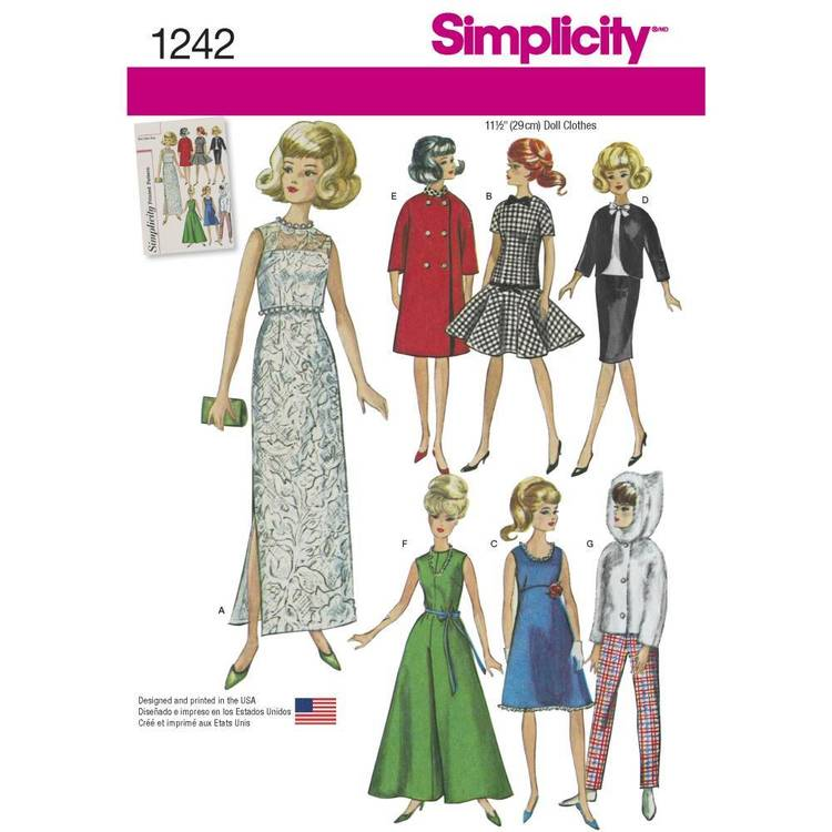Simplicity Pattern 1242 Vintage Doll Clothes