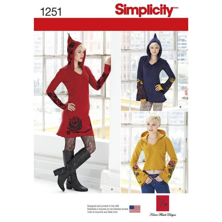 Simplicity 1251 Misses' Knit Dress Tunic And Top