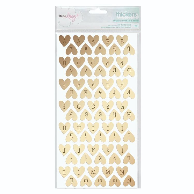 American Crafts Dear Lizzy Thickers Hearts Stickers Gold