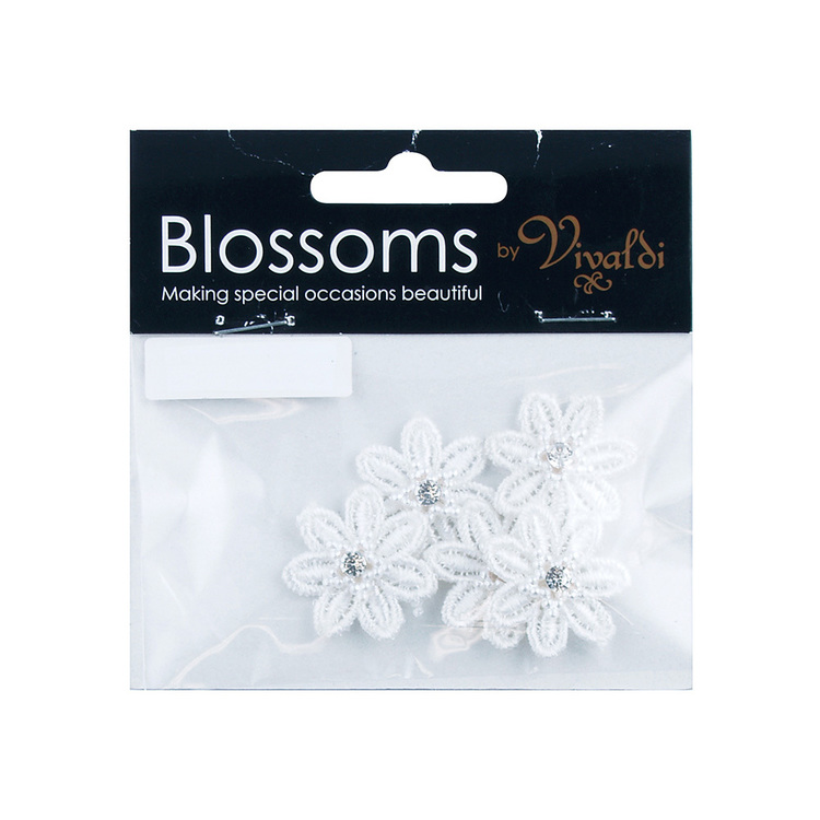 Vivaldi Blossoms Flower Lace Daisy with Diamond & Pearl Star White 27 mm