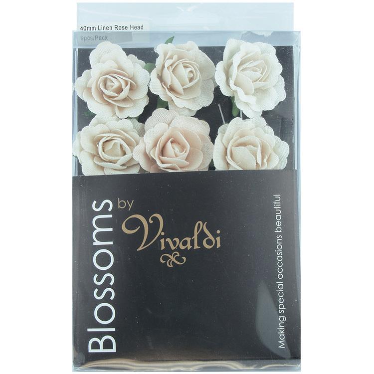 Vivaldi Blossoms 40 mm Linen Rose Heads