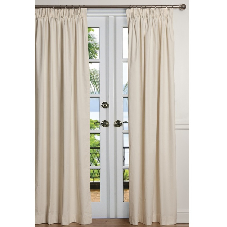 Que Calico Block-out Lined Pencil Pleat Curtain Natural