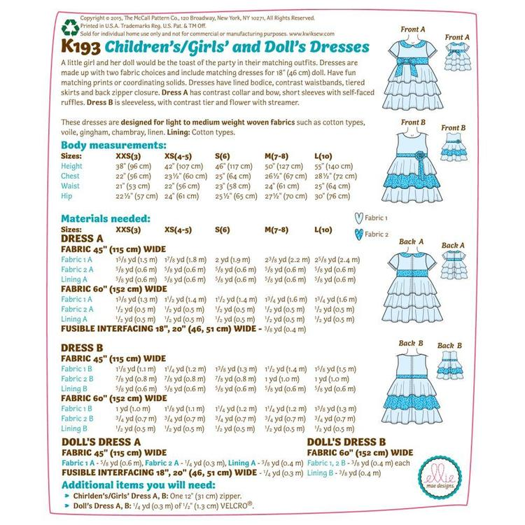 Kwik Sew Pattern K0193 Girls' Dresses  XX Small - Large