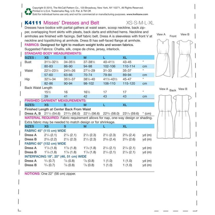 Kwik Sew K4111 Misses' Dresses & Belt  X Small - X Large