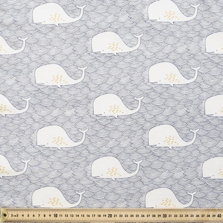 Whales Combed Cotton Fabric