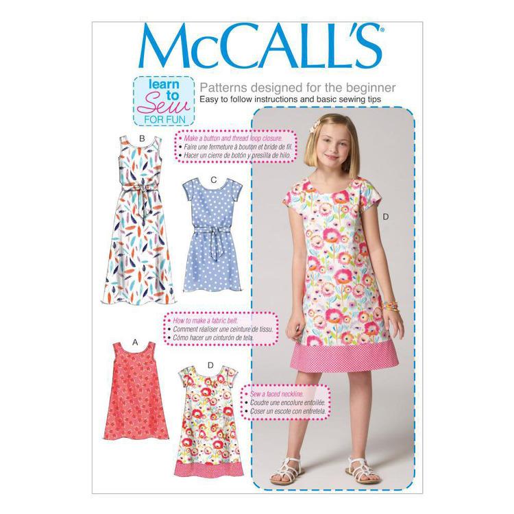 McCall's Pattern M7111 Children & Girls' Dresses & Belt