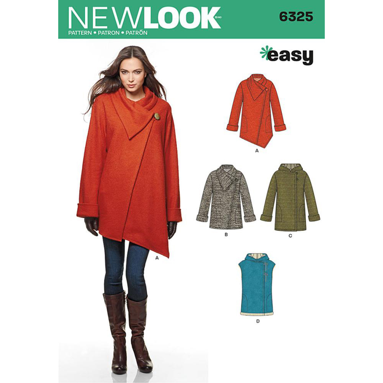 New Look Pattern 6325 Misses' Easy Coat With Length & Front Variations