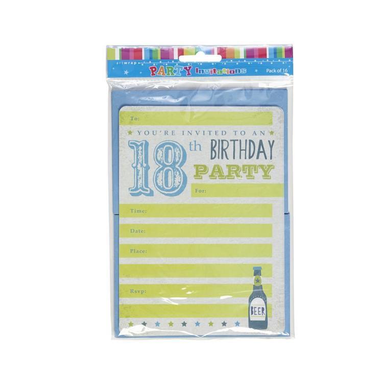 Artwrap 18th Birthday Boy Invites