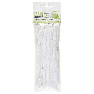 Club House Plain 6mm x 15cm Chenille Sticks 30 Pack
