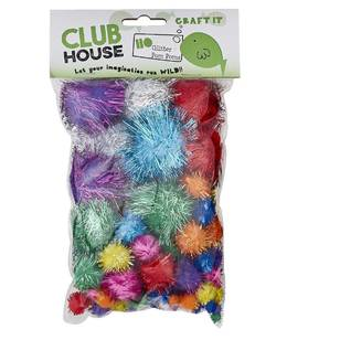 Club House Mixed Glitter Pom Poms