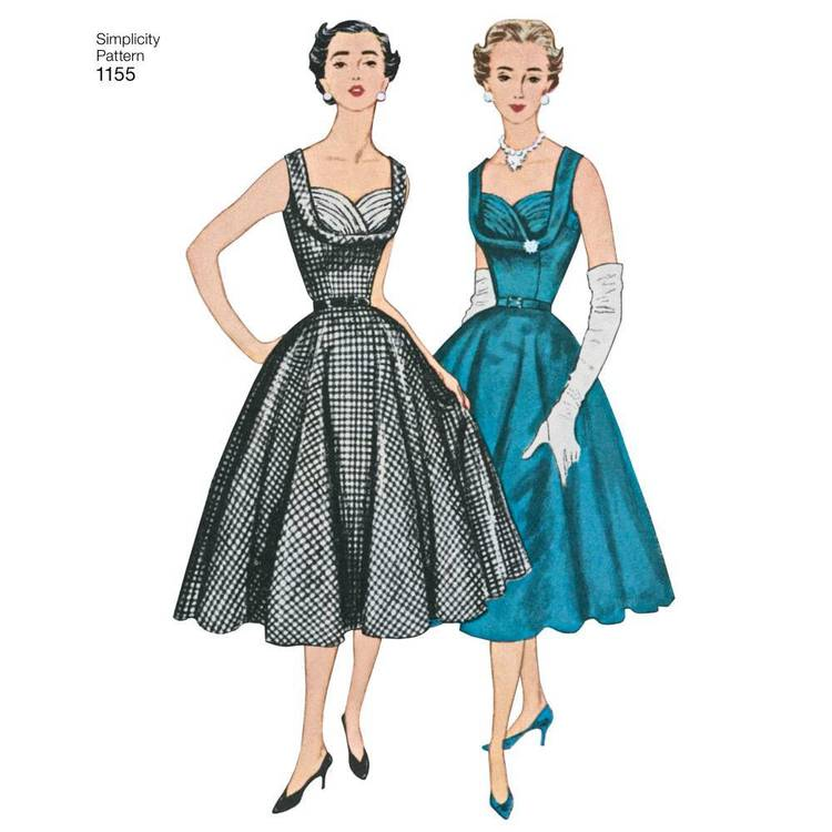 Simplicity Pattern 1155 Miss & Miss Plus Vintage Dress 20 - 28