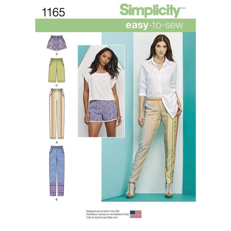 Simplicity Pattern 1165 Misses' Pull-on Pants, Long or Short Shorts