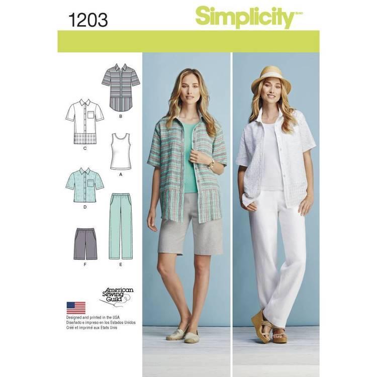 Simplicity Pattern 1203 Misses' & Women's Tops & Pants