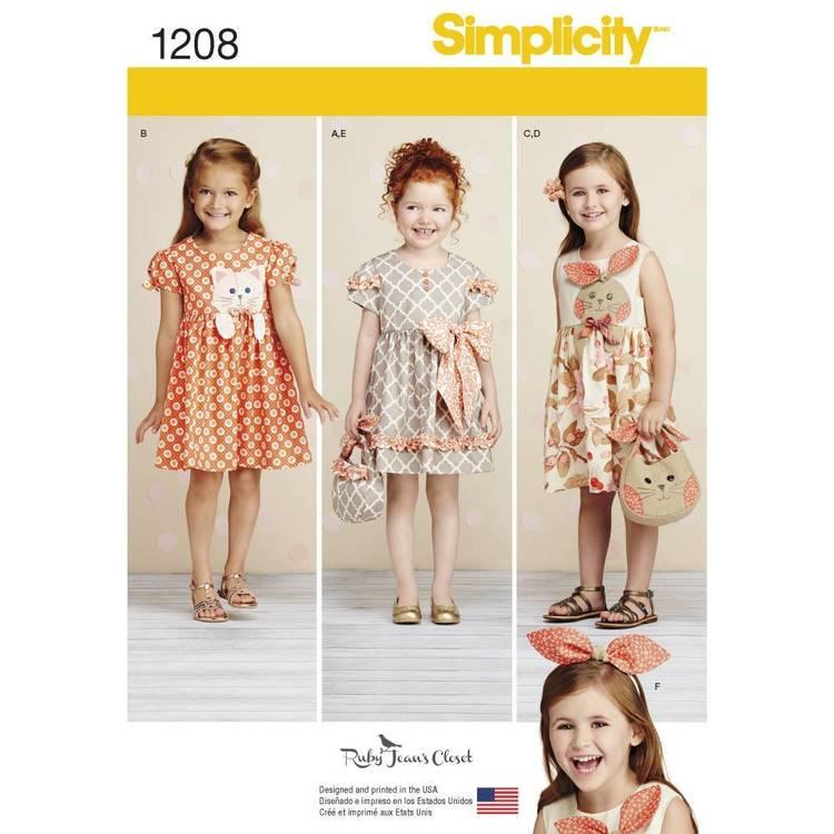 Simplicity Pattern 1208 Child's Dresses Purses & Headband