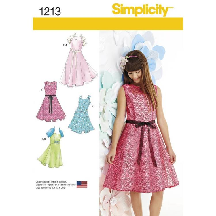 Simplicity Pattern 1213 Girls' Plus Dresses & Knit Shrug