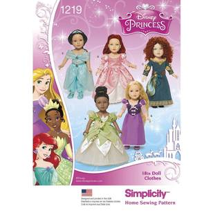 Simplicity Pattern 1219 Disney Princess Doll Clothes
