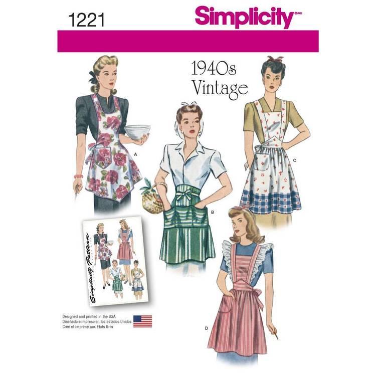 Simplicity Pattern 1221 Misses' Vintage Aprons