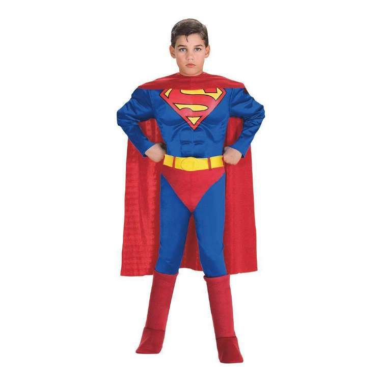 DC Comics Luxe Superman Kids Muscle Costume Multicoloured 6 - 8 Years