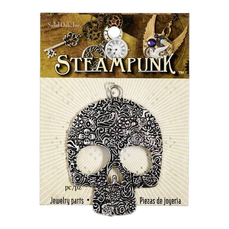 Steampunk Antiqued Large Floral Skull Silver