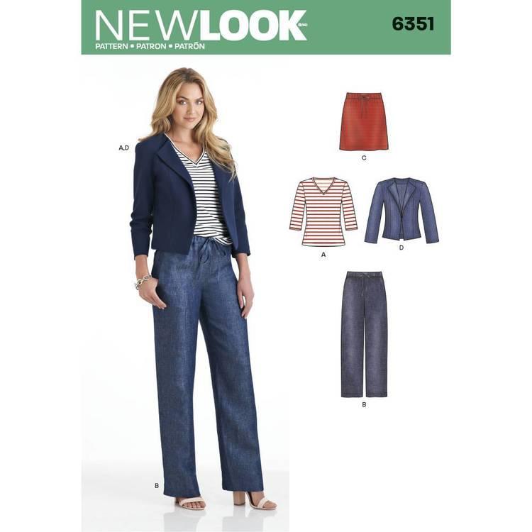 New Look Pattern 6351 Misses' Jacket Pants Skirt & Knit Top