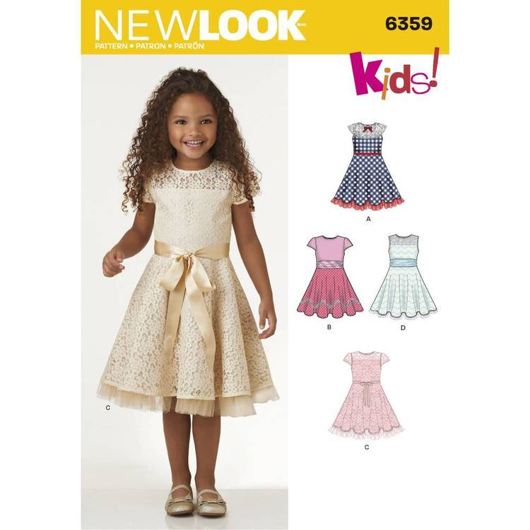 New Look Pattern 6359 Child's Dresses With Lace & Trim Details