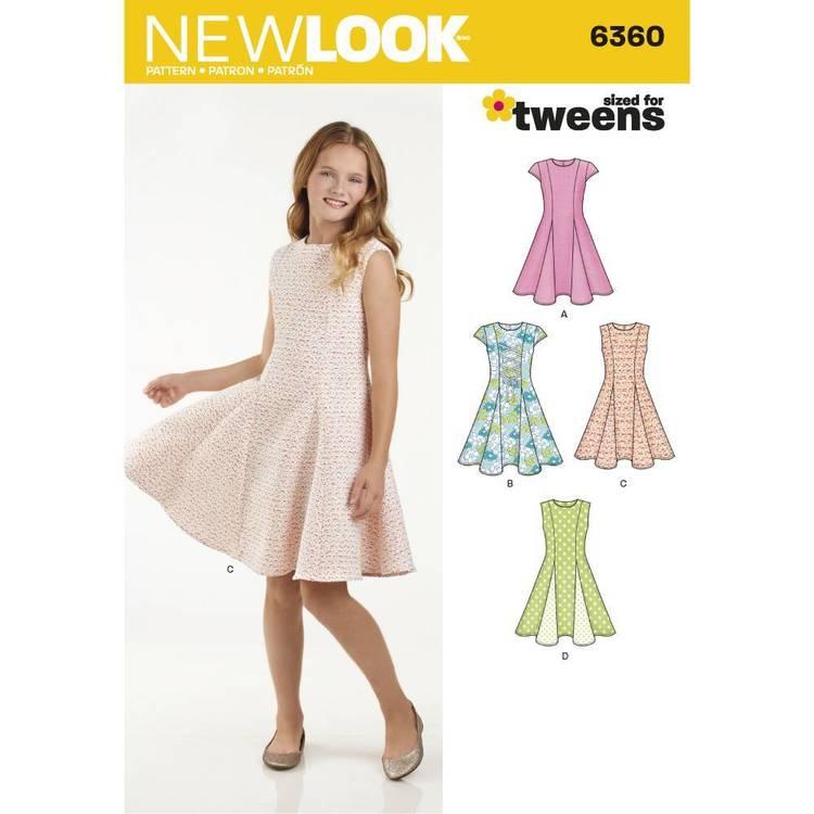New Look Pattern 6360 Girls' Sized For Tweens Dress