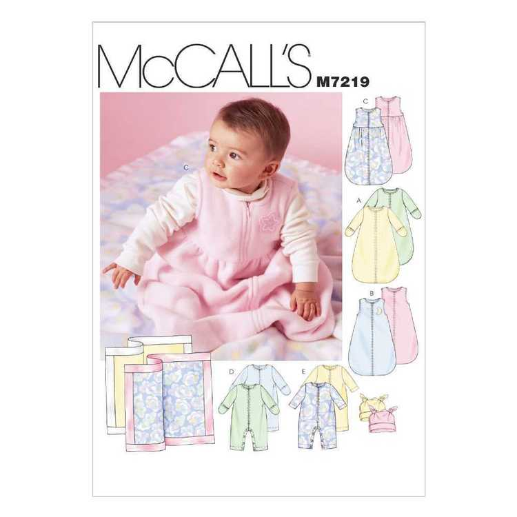 McCall's Pattern M7219 Infants' Buntings Jumpsuits Hats & Blanket