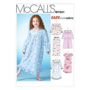 McCall's Pattern M7221 Children & Girls' Robe Gowns Top & Pants
