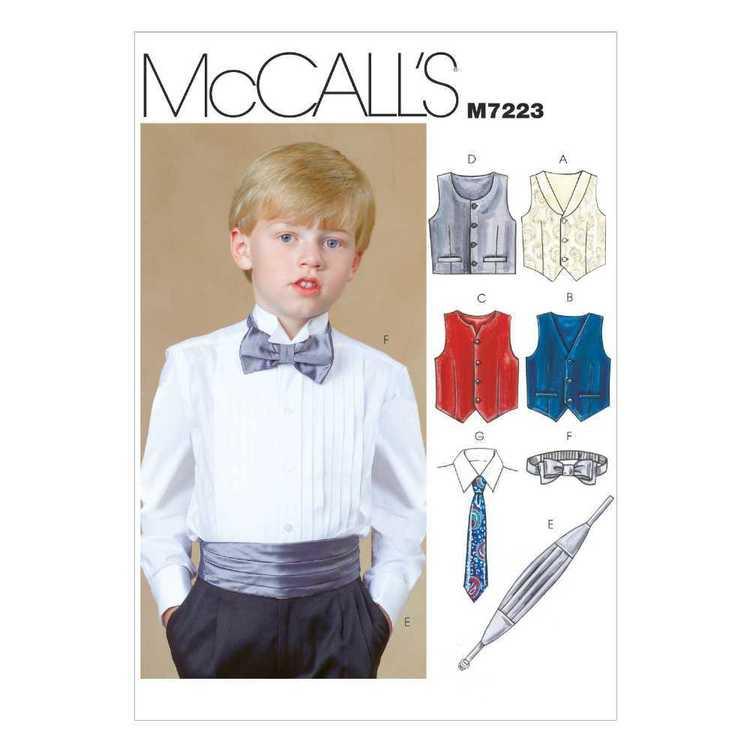 McCall's Pattern M7223 Boys' Lined Vests Cummerbund Bow Tie & Necktie