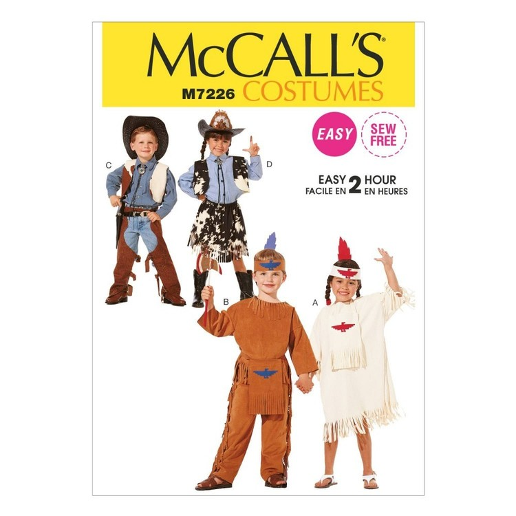McCall's Pattern M7226 Children's/Boys'/Girls' Western and Native American Costumes