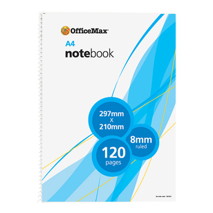 OfficeMax A4 120 Page Spiral Book